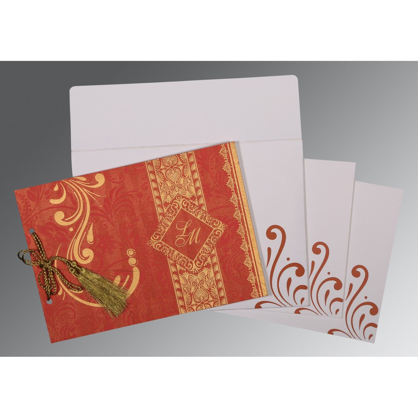 BURNT ORANGE SHIMMERY SCREEN PRINTED WEDDING CARD : CIN-8223C - IndianWeddingCards
