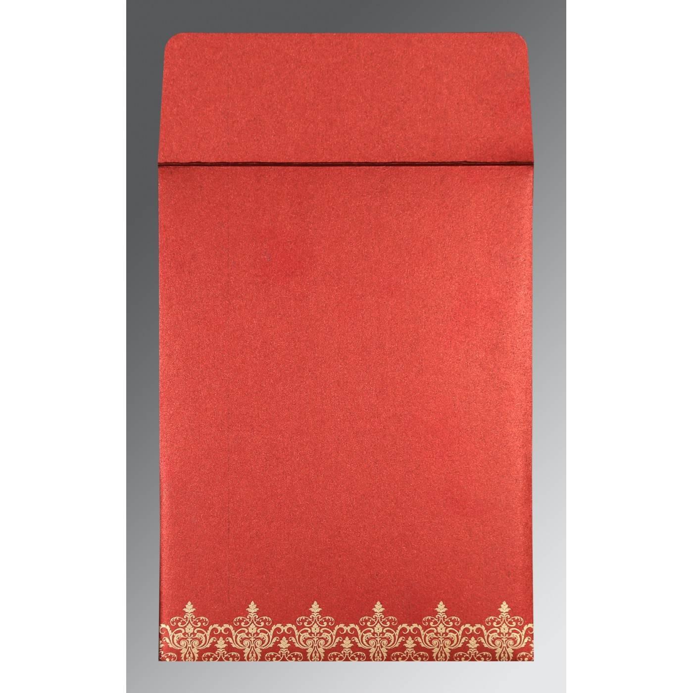 WINE RED SHIMMERY SCREEN PRINTED WEDDING CARD : CIN-8244E - IndianWeddingCards
