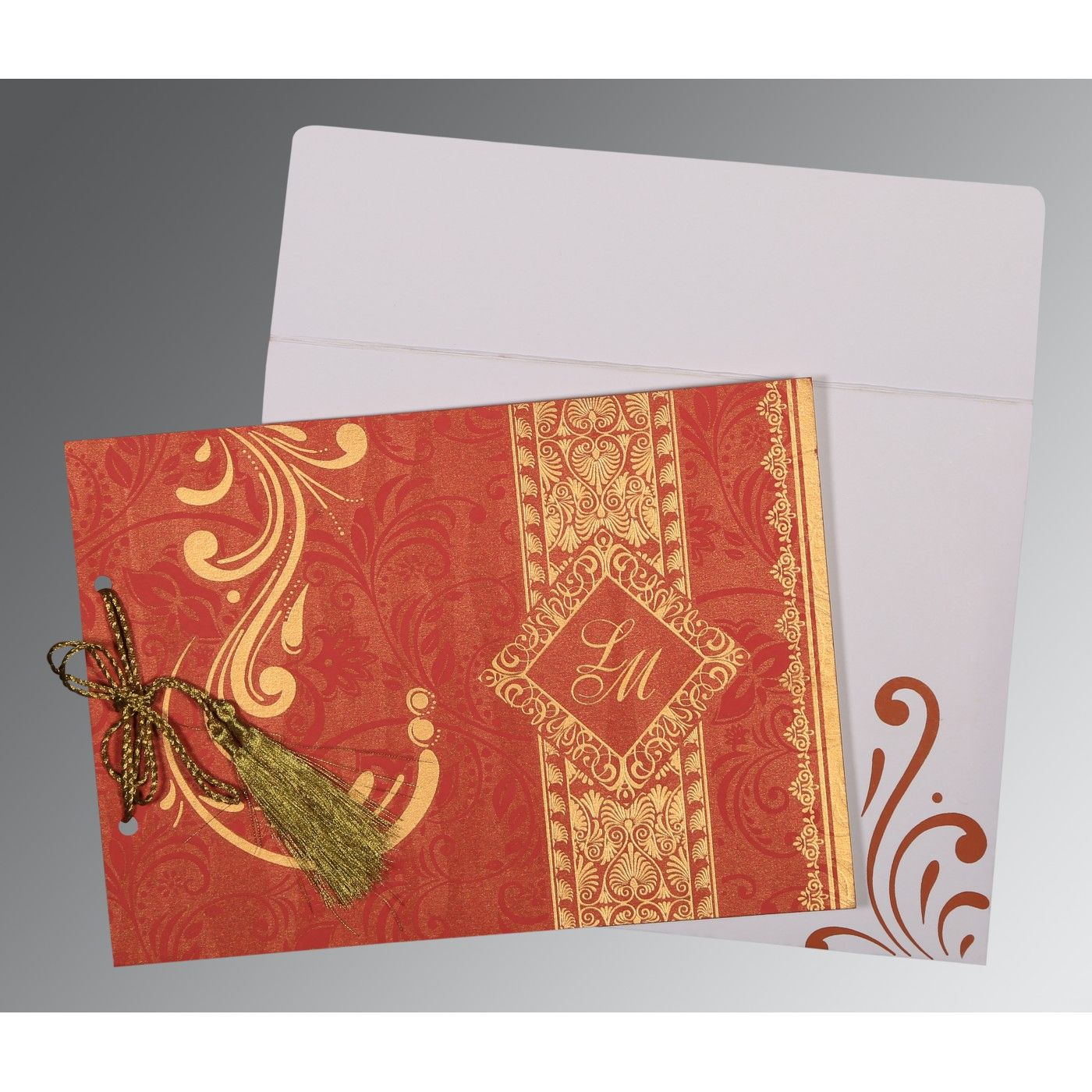 BURNT ORANGE SHIMMERY SCREEN PRINTED WEDDING CARD : CRU-8223C - IndianWeddingCards