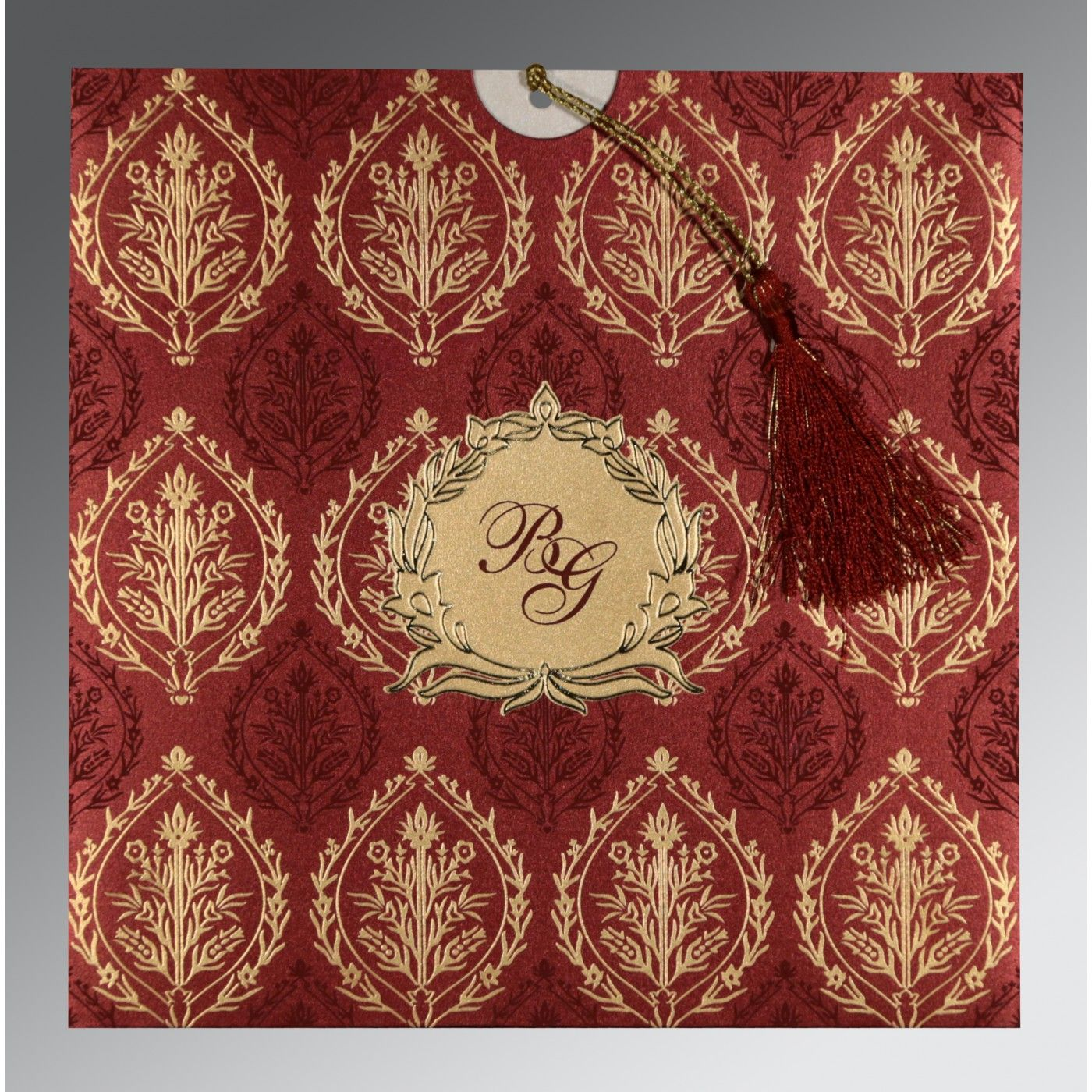 WINE RED SHIMMERY UNIQUE THEMED - FOIL STAMPED WEDDING CARD : CSO-8249L - IndianWeddingCards
