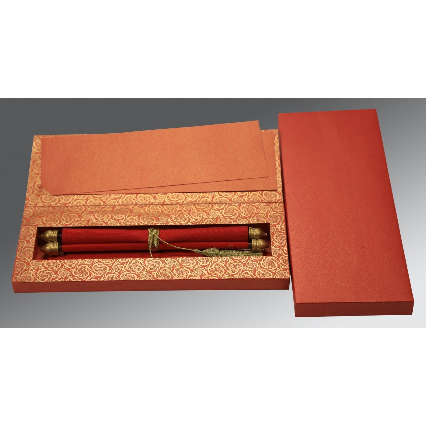 RED VELVET WEDDING CARD : CSC-5009B - IndianWeddingCards