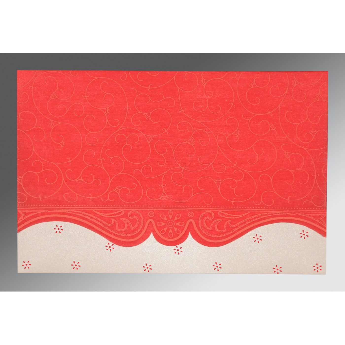 SCARLET MATTE EMBOSSED WEDDING INVITATION : C-RU-8221J - IndianWeddingCards