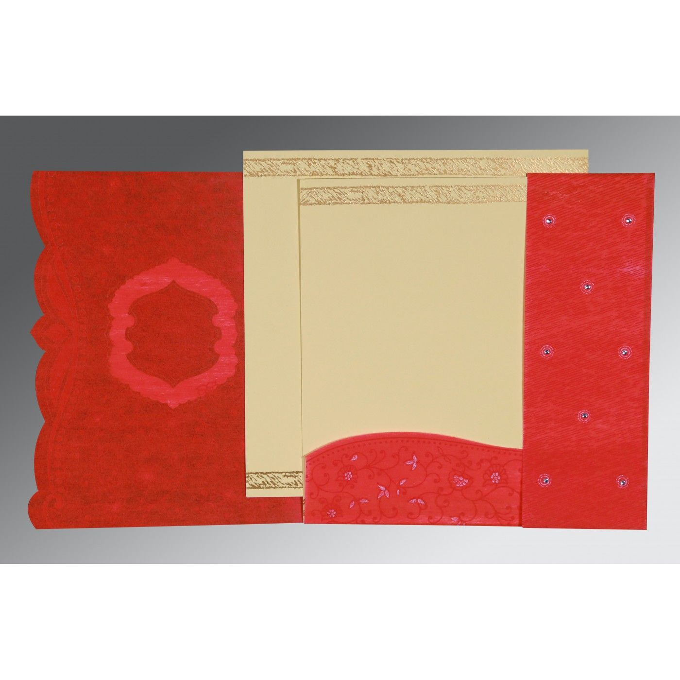 SCARLET SHIMMERY FLORAL THEMED - EMBOSSED WEDDING CARD : CW-8209I - IndianWeddingCards