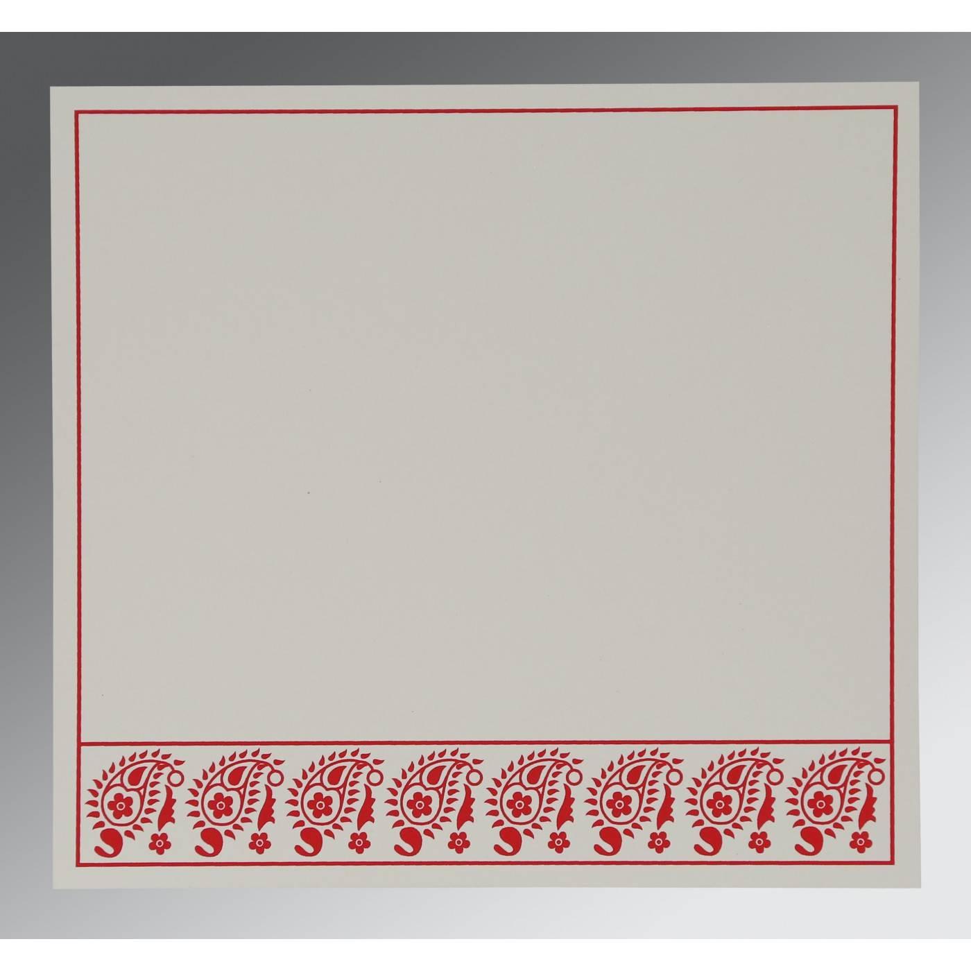 SCARLET WOOLY FLORAL THEMED - SCREEN PRINTED WEDDING CARD : CG-8218M - IndianWeddingCards