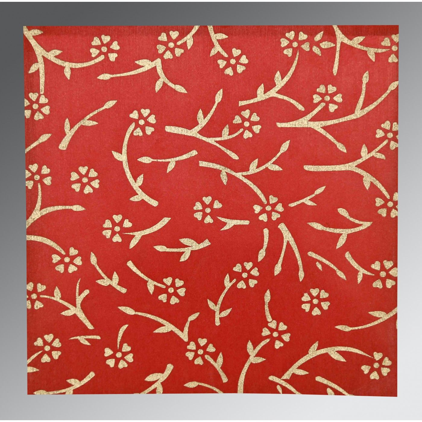 RUBY WOOLY FLORAL THEMED - SCREEN PRINTED WEDDING INVITATION : CS-8216L - IndianWeddingCards
