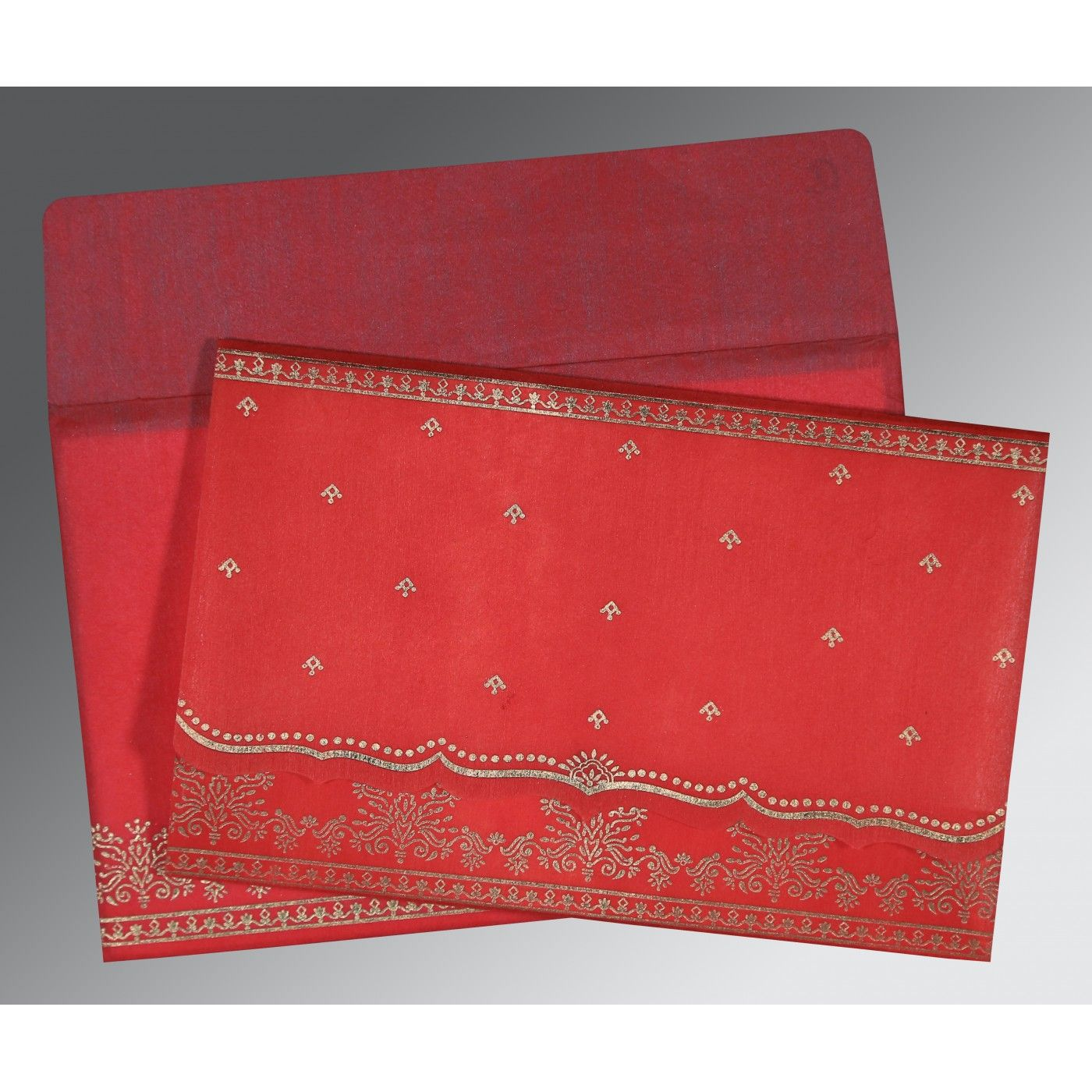 IMPERIAL RED WOOLY FOIL STAMPED WEDDING INVITATION : CG-8241Q - IndianWeddingCards