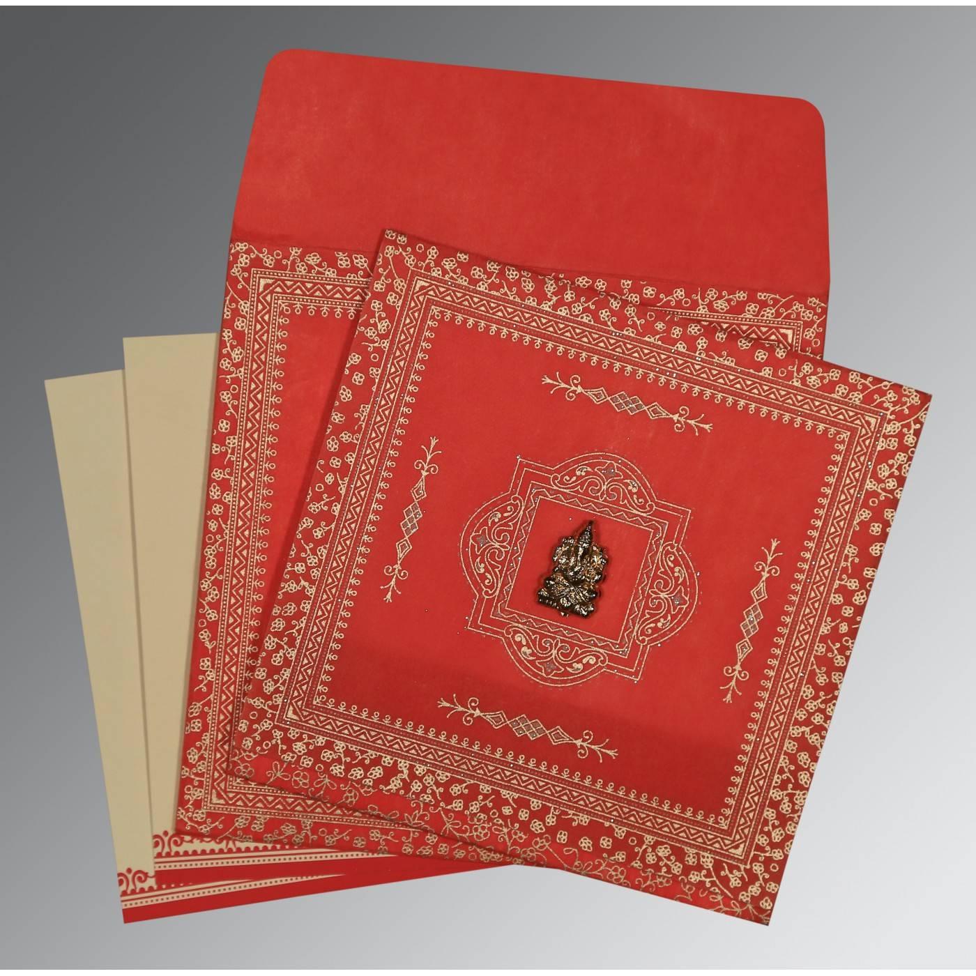 RED WOOLY GLITTER WEDDING CARD : CIN-8205R - IndianWeddingCards