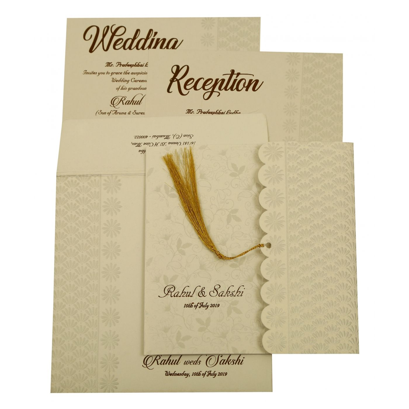 SHELL GREY SHIMMERY FLORAL THEMED - EMBOSSED WEDDING INVITATION : CI-1887 - IndianWeddingCards