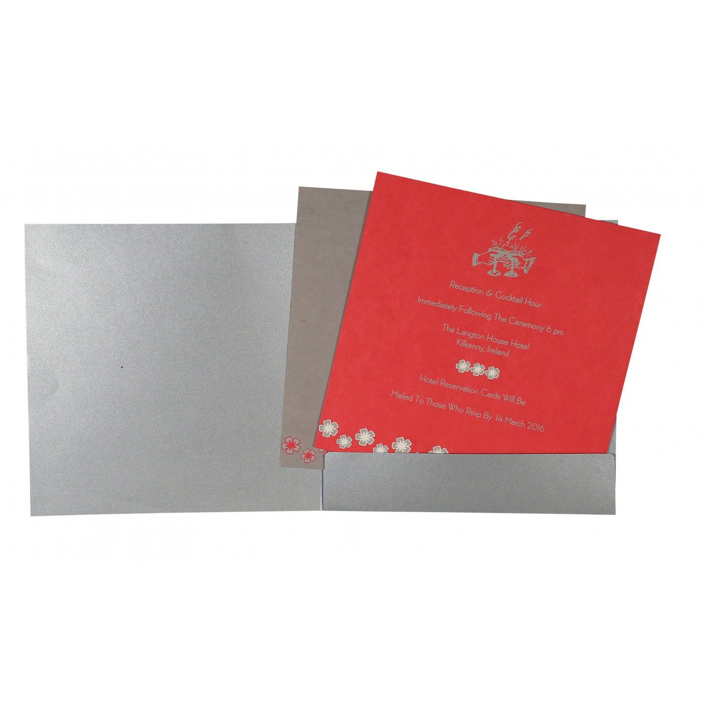 SILVER SHIMMERY BUTTERFLY THEMED - SCREEN PRINTED WEDDING CARD : CG-8258E - IndianWeddingCards
