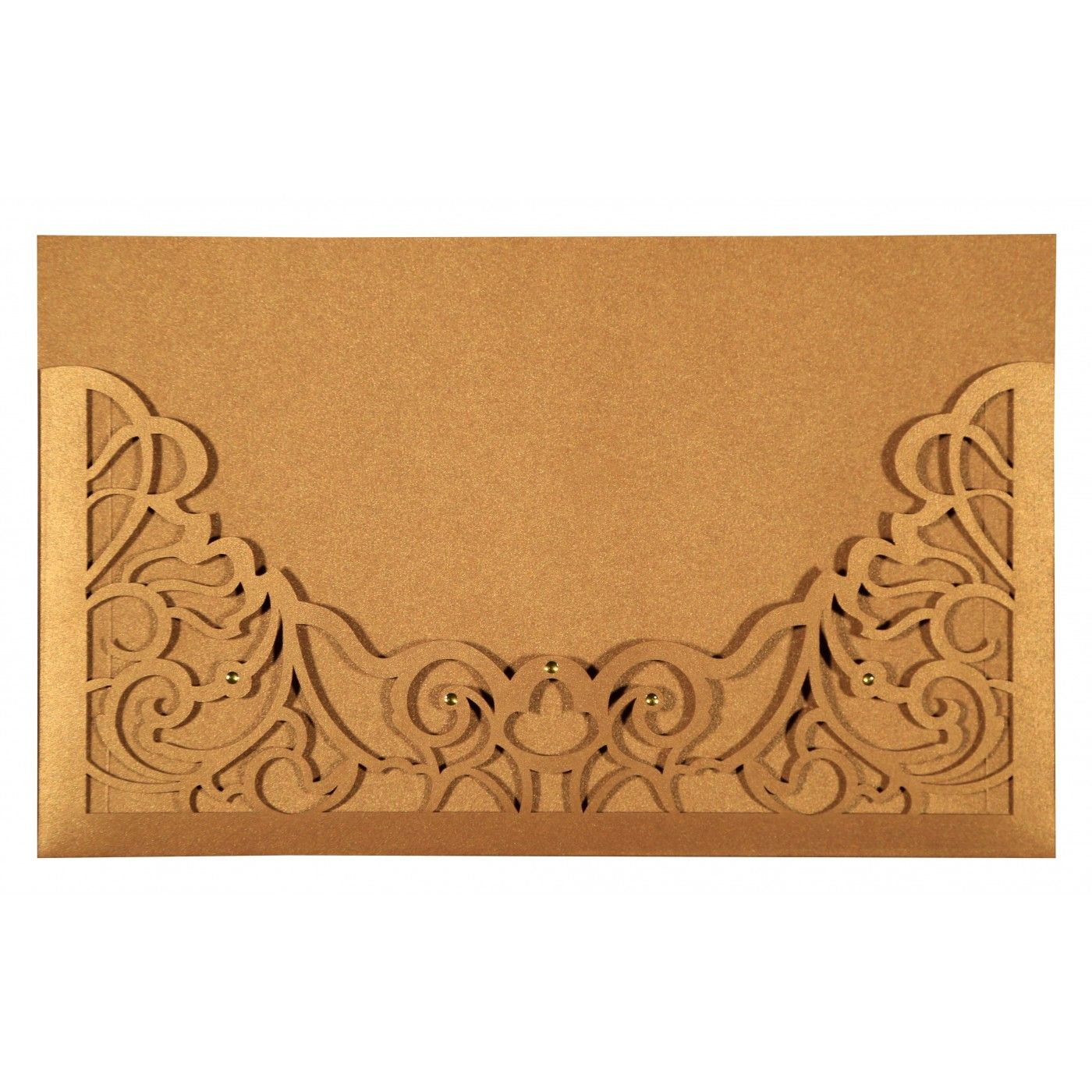 GOLD SHIMMERY DAMASK THEMED - LASER CUT WEDDING CARD : CG-8262D - IndianWeddingCards