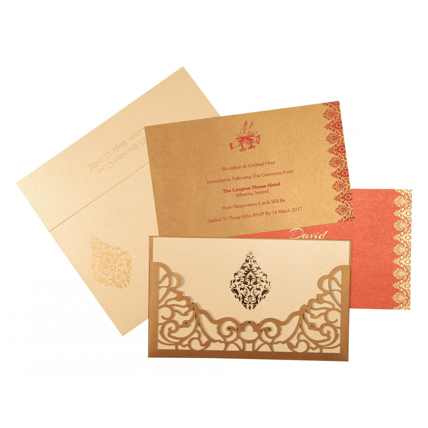 GOLD SHIMMERY DAMASK THEMED - LASER CUT WEDDING CARD : CIN-8262D - IndianWeddingCards