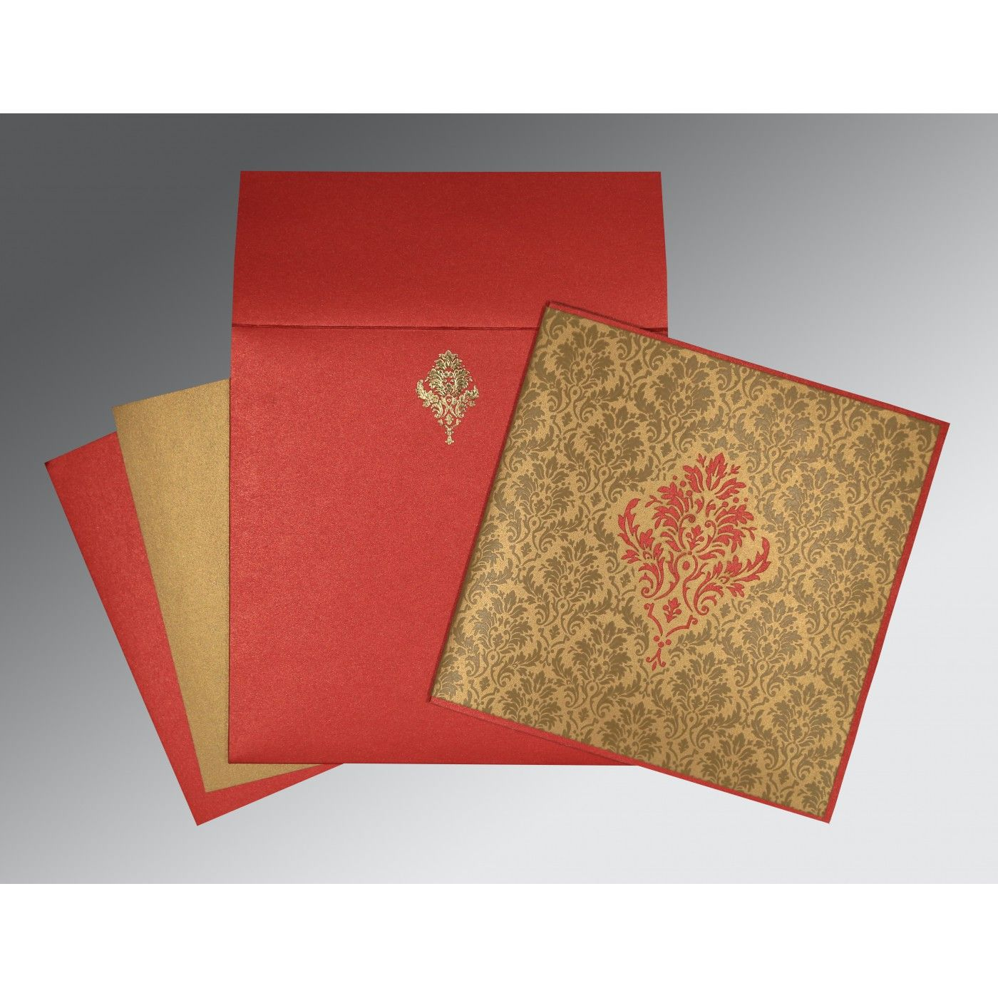 GOLD RED SHIMMERY DAMASK THEMED - LASER CUT WEDDING INVITATION : CS-1494 - IndianWeddingCards