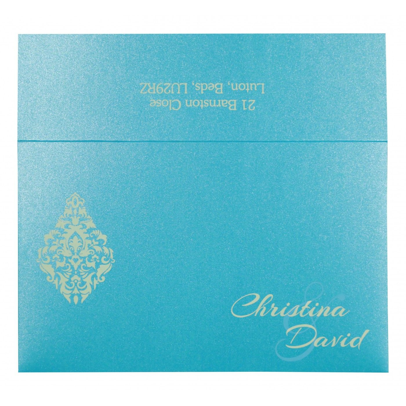 MODERATE ORANGE SHIMMERY DAMASK THEMED - LASER CUT WEDDING CARD : CSO-8262C - IndianWeddingCards