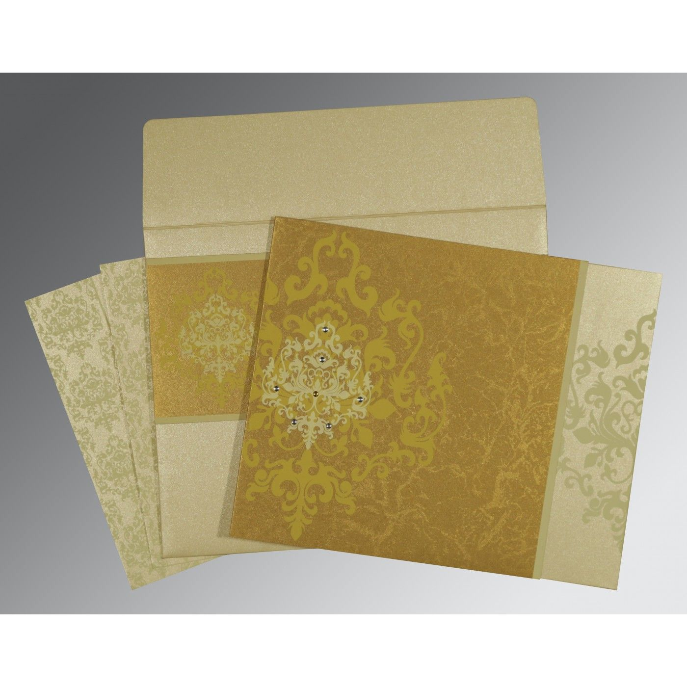GOLD SHIMMERY DAMASK THEMED - SCREEN PRINTED WEDDING CARD : CD-8253H - IndianWeddingCards