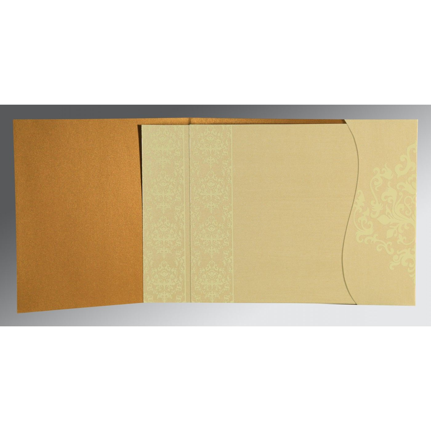 MUSTARD YELLOW SHIMMERY DAMASK THEMED - SCREEN PRINTED WEDDING CARD : CG-8253G - IndianWeddingCards