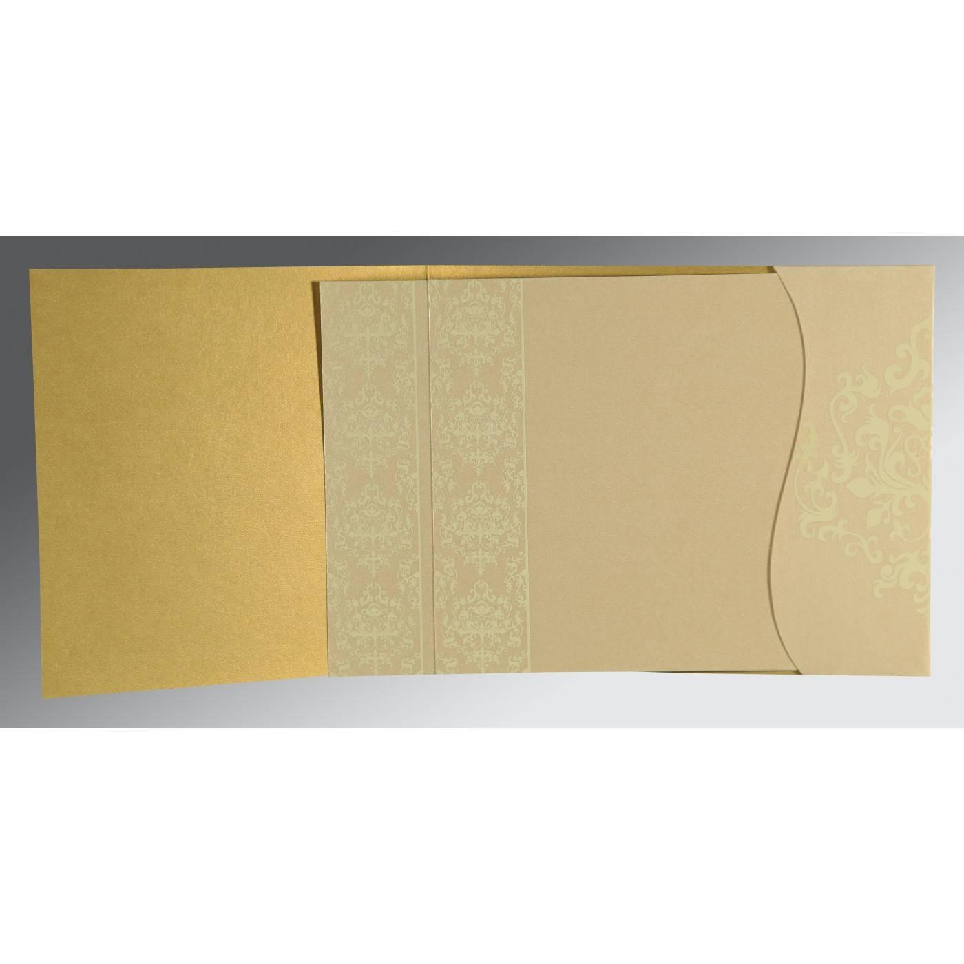 GOLD SHIMMERY DAMASK THEMED - SCREEN PRINTED WEDDING CARD : CIN-8253H - IndianWeddingCards