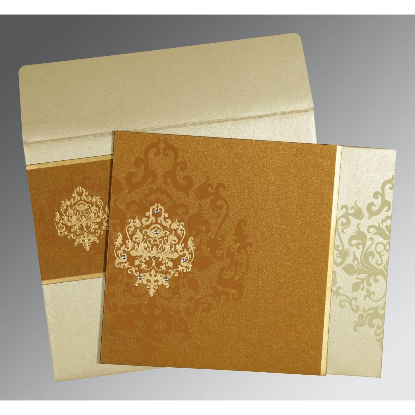 MUSTARD YELLOW SHIMMERY DAMASK THEMED - SCREEN PRINTED WEDDING CARD : CRU-8253G - IndianWeddingCards