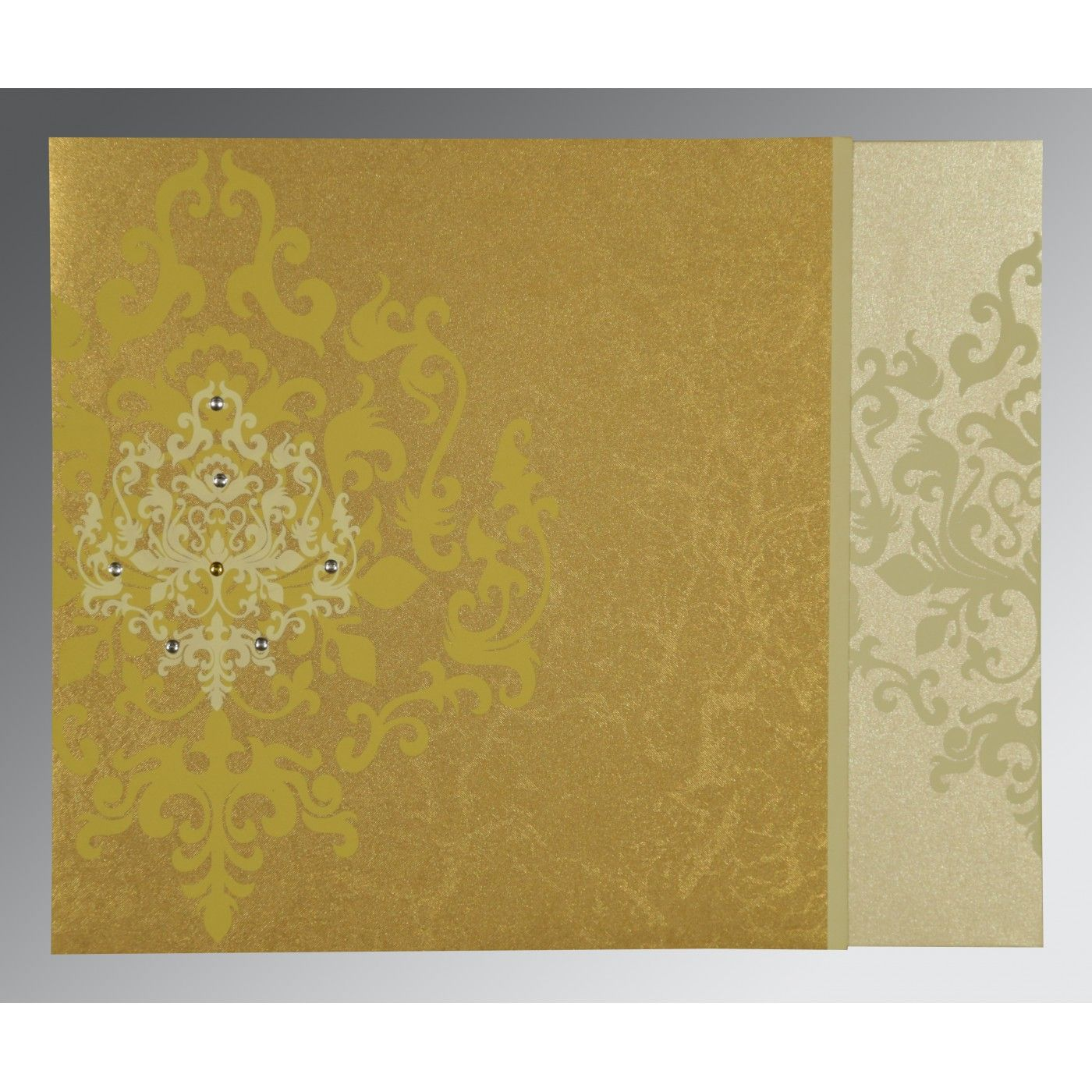 GOLD SHIMMERY DAMASK THEMED - SCREEN PRINTED WEDDING CARD : CRU-8253H - IndianWeddingCards
