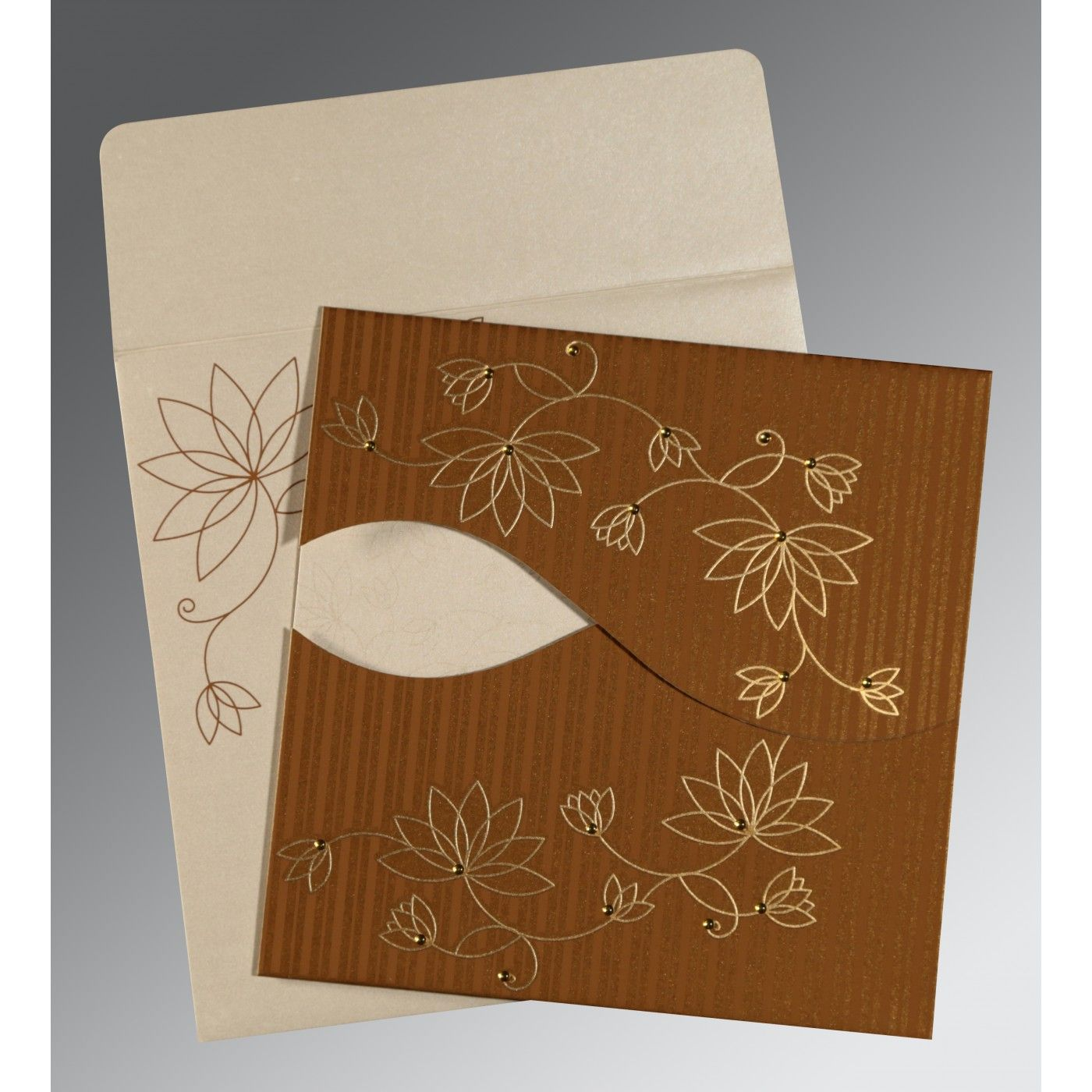COPPER SHIMMERY FLORAL THEMED - SCREEN PRINTED WEDDING INVITATION : CI-8251M - IndianWeddingCards