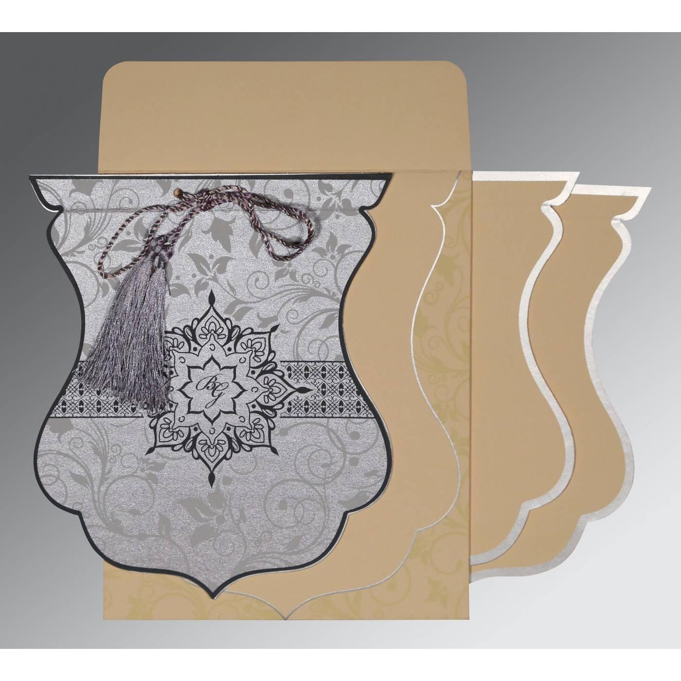 SILVER SHIMMERY FLORAL THEMED - SCREEN PRINTED WEDDING CARD : W-8229B - 123WeddingCards