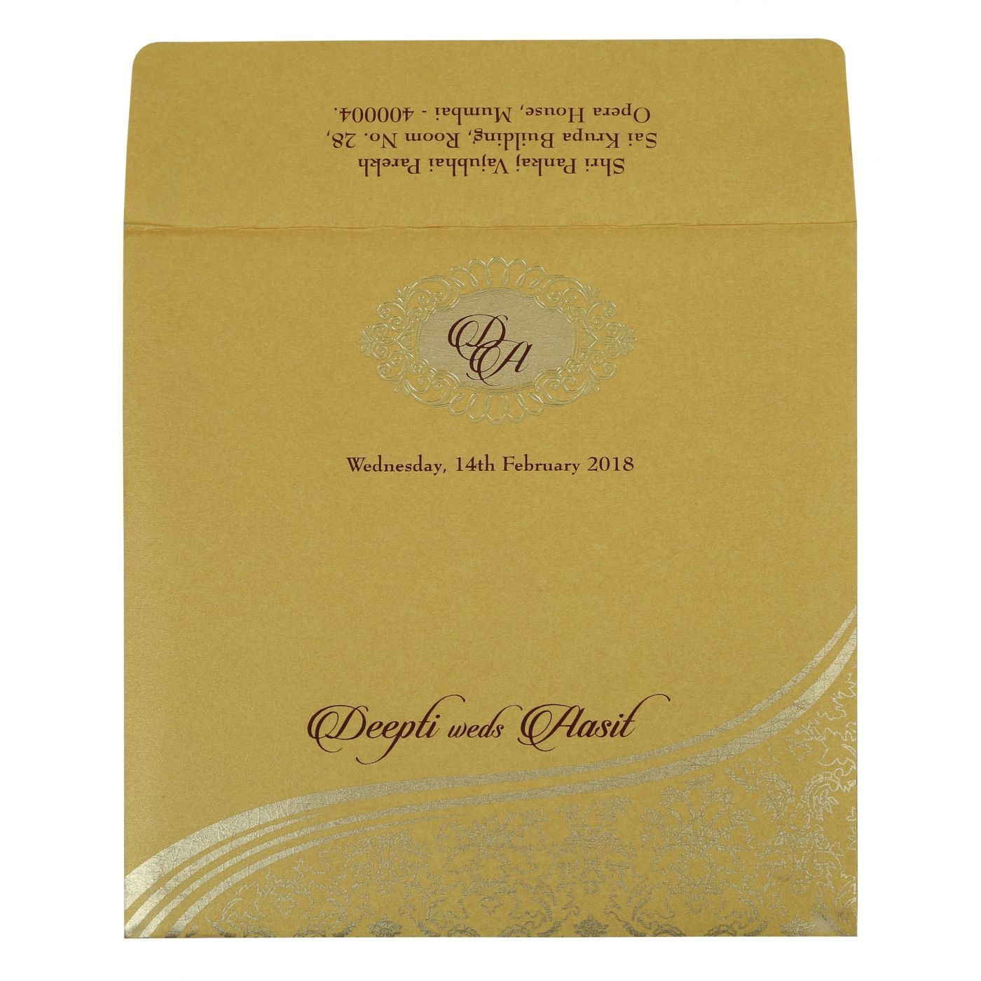 YELLOW GOLD SHIMMERY FOIL STAMPED WEDDING INVITATION : CI-1798 - IndianWeddingCards