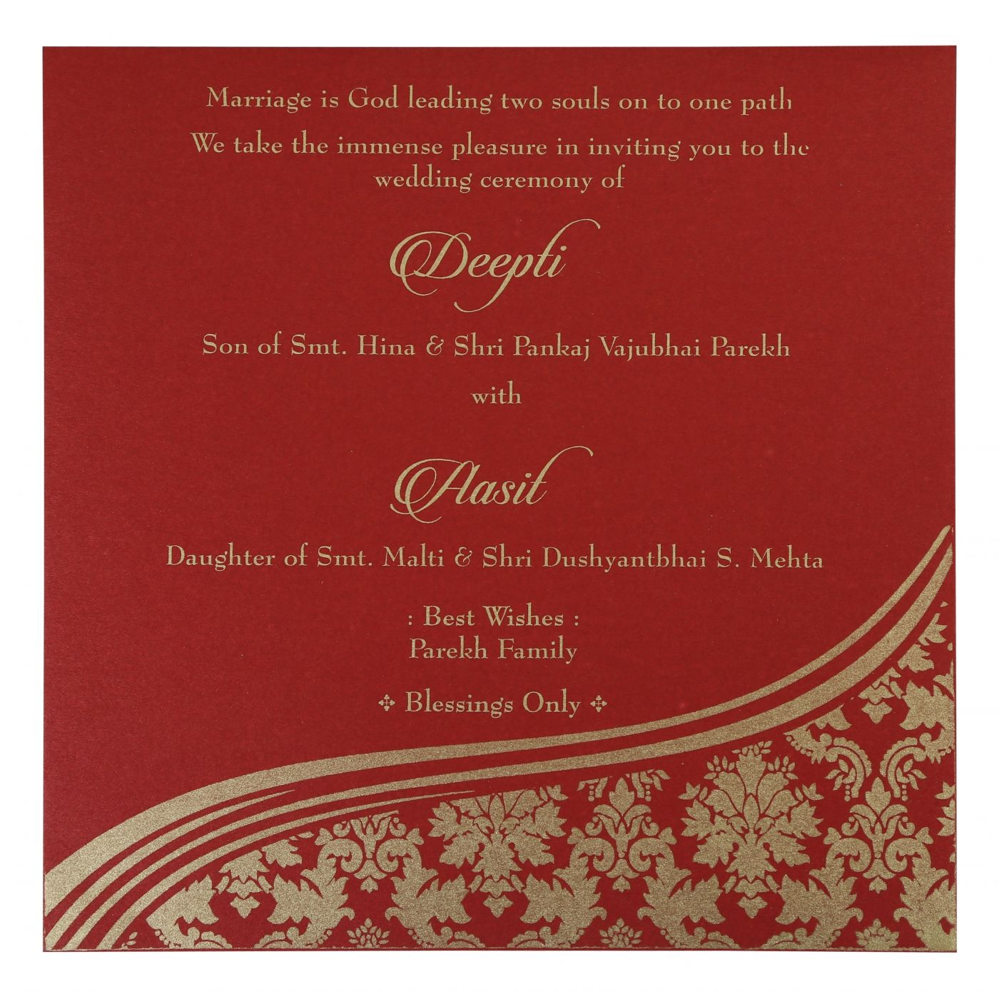 YELLOW GOLD SHIMMERY FOIL STAMPED WEDDING INVITATION : CS-1798 - IndianWeddingCards