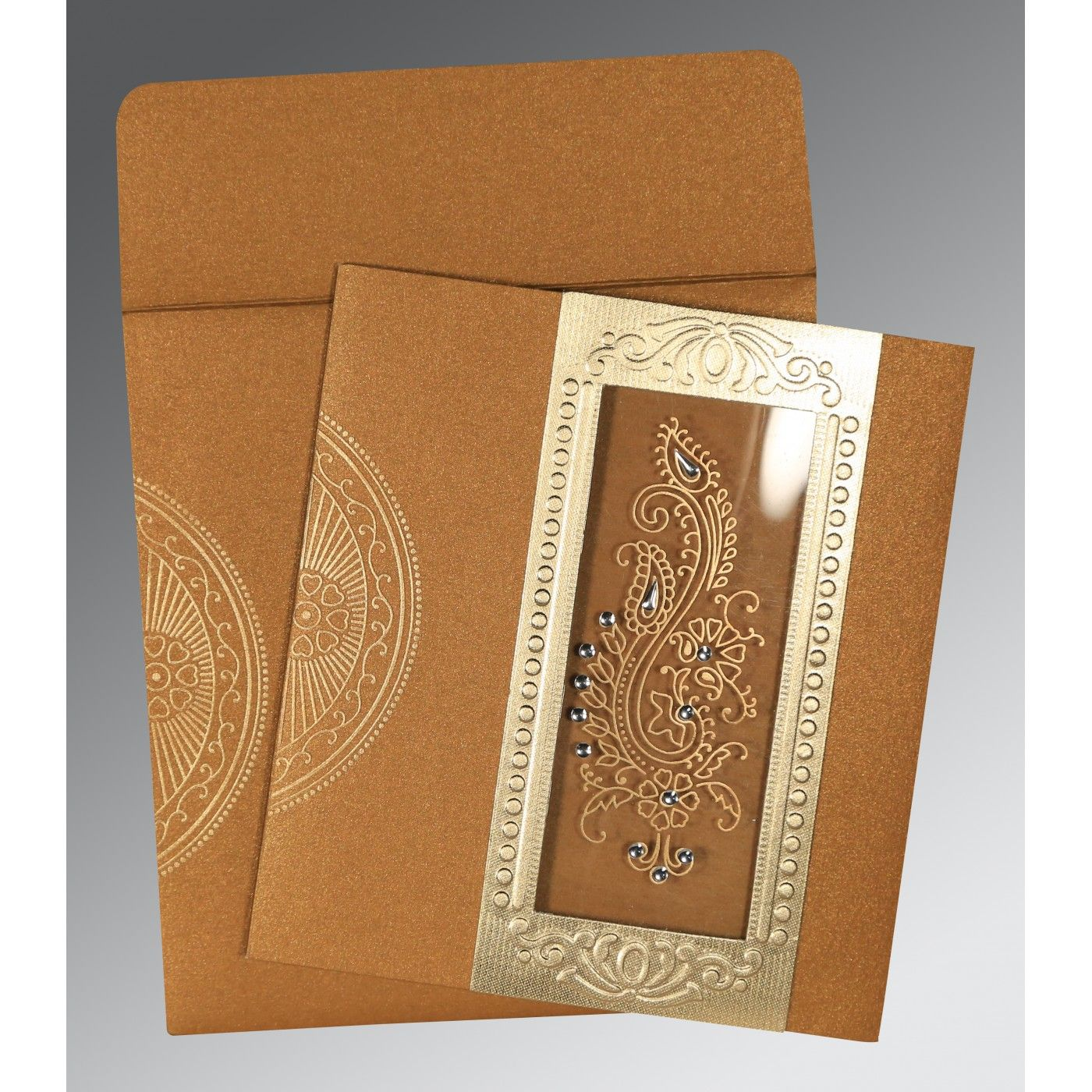 COPPER SHIMMERY PAISLEY THEMED - FOIL STAMPED WEDDING INVITATION : CI-8230Q - IndianWeddingCards