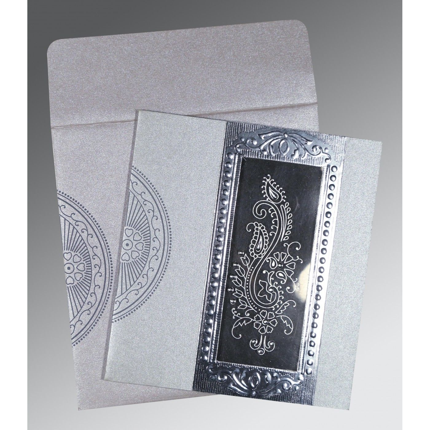 SILVER SHIMMERY PAISLEY THEMED - FOIL STAMPED WEDDING INVITATION : CIN-8230F - IndianWeddingCards