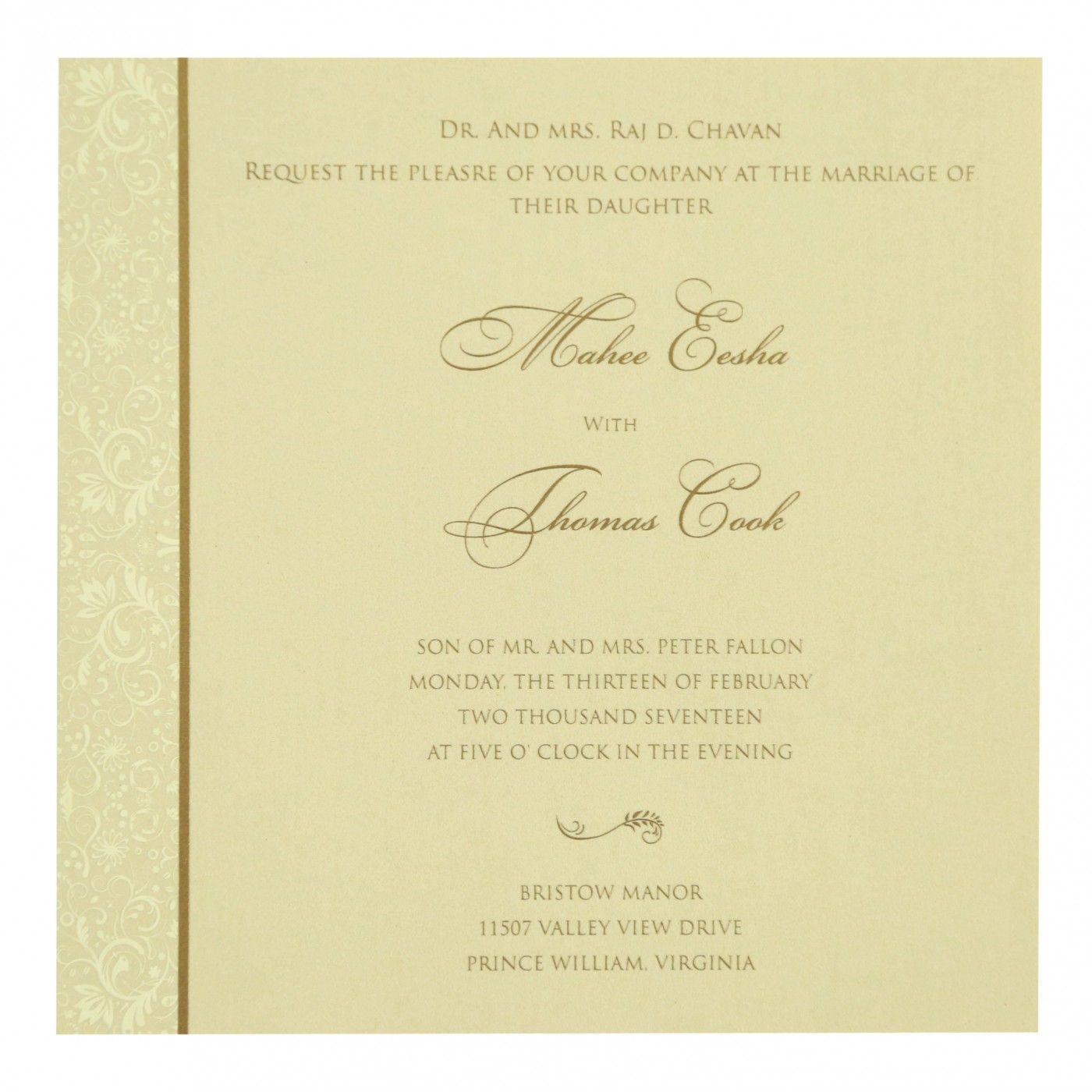 GOLD SHIMMERY PAISLEY THEMED - SCREEN PRINTED WEDDING CARD : CIN-8264B - IndianWeddingCards