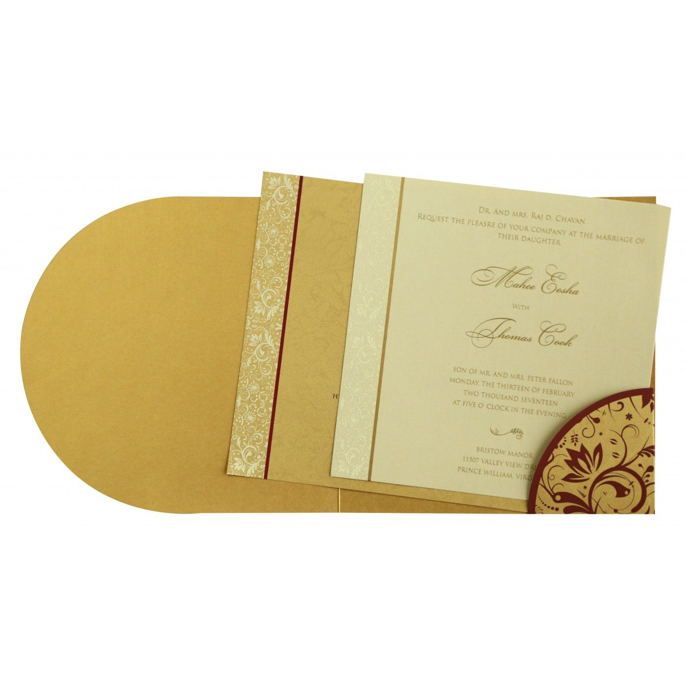 GOLD SHIMMERY PAISLEY THEMED - SCREEN PRINTED WEDDING CARD : CS-8264B - IndianWeddingCards