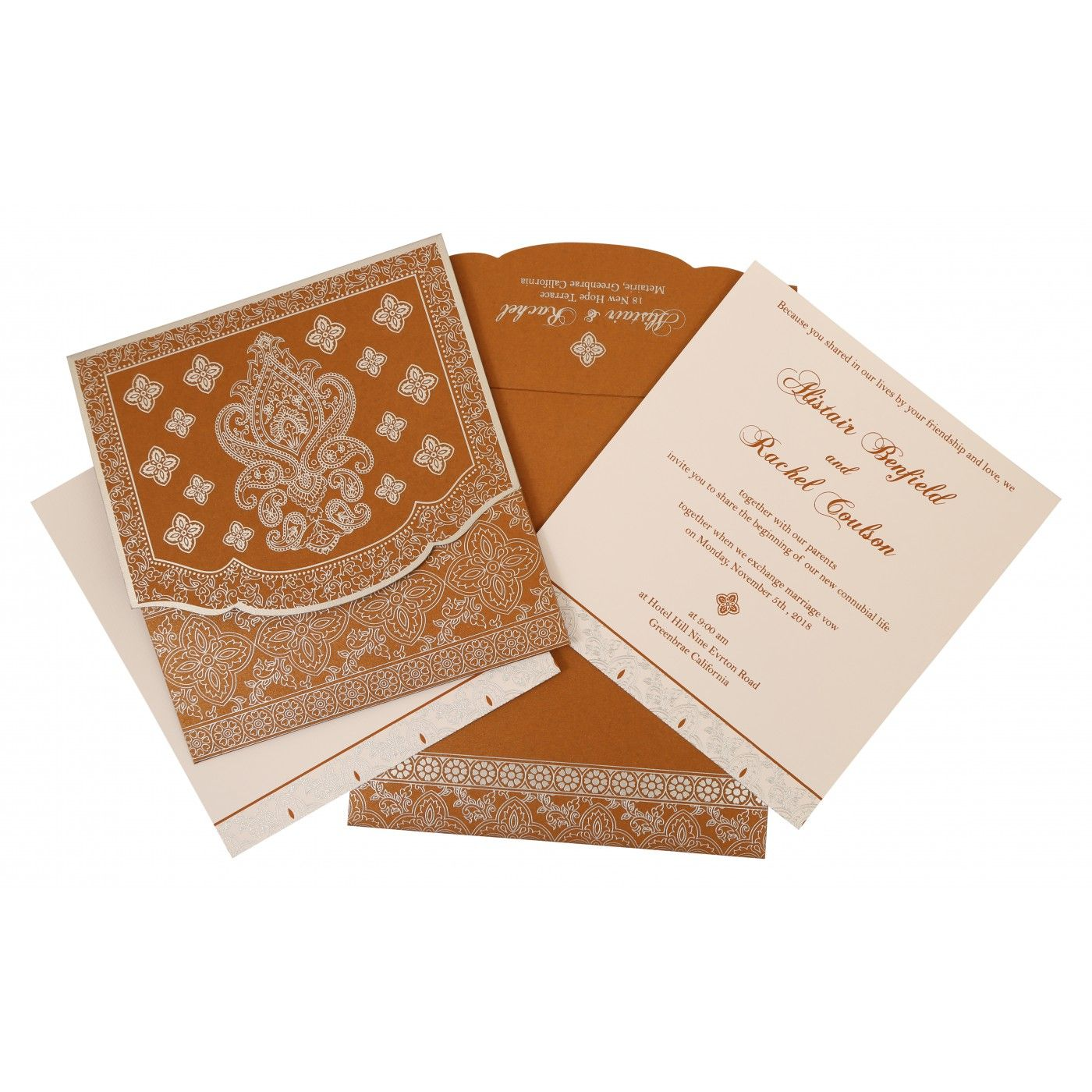 COPPER SHIMMERY SCREEN PRINTED WEDDING INVITATION : CG-800B - IndianWeddingCards