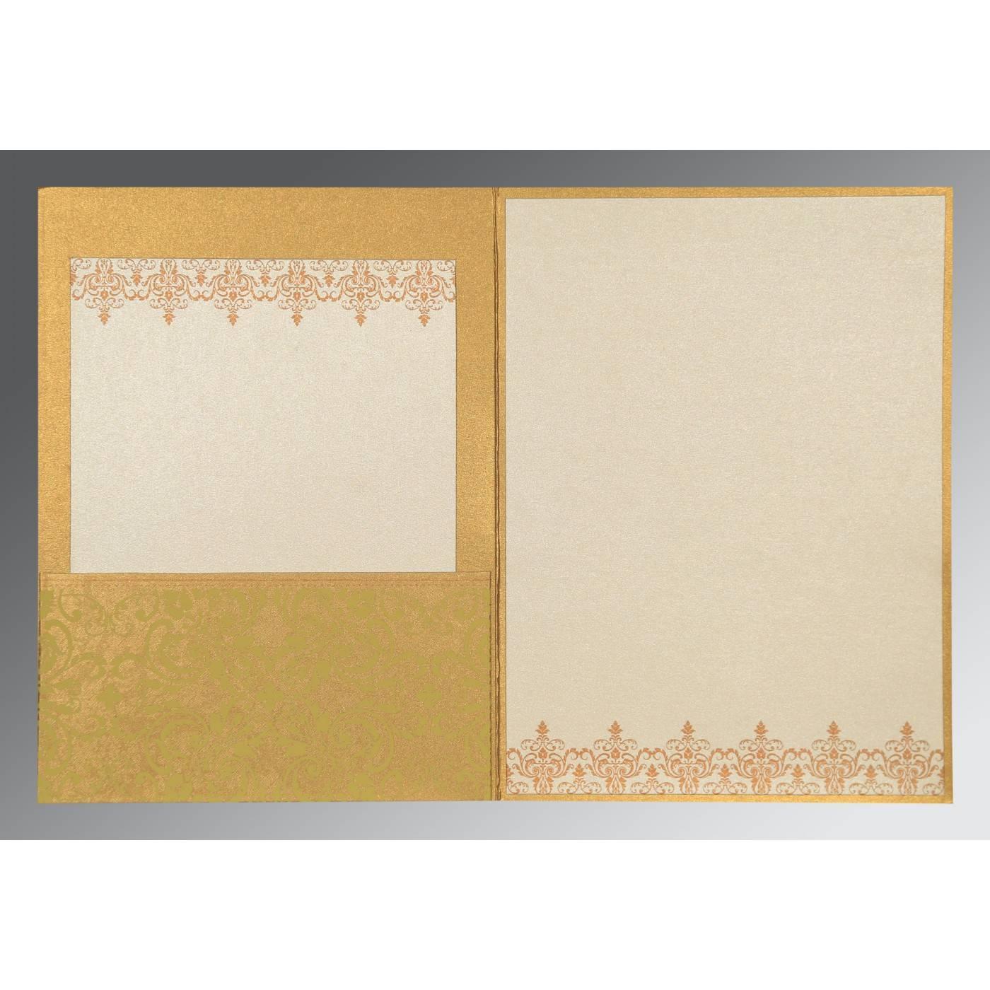 SATIN GOLD SHIMMERY SCREEN PRINTED WEDDING CARD : CG-8244G - IndianWeddingCards