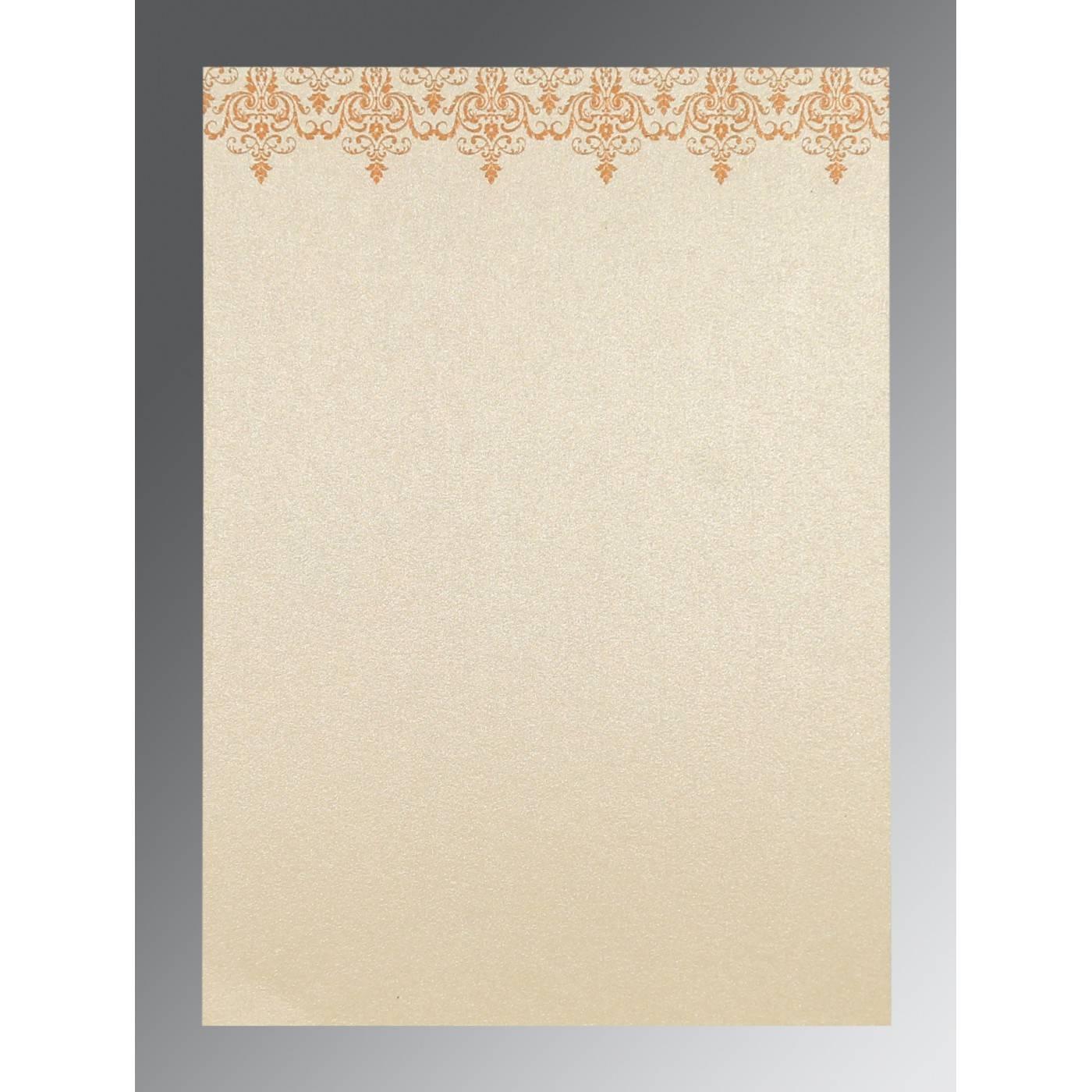 SATIN GOLD SHIMMERY SCREEN PRINTED WEDDING CARD : CI-8244G - IndianWeddingCards