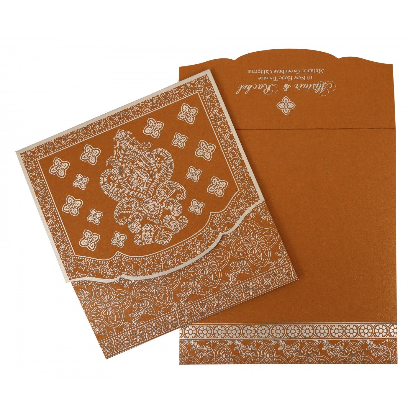 COPPER SHIMMERY SCREEN PRINTED WEDDING INVITATION : CIN-800B - IndianWeddingCards