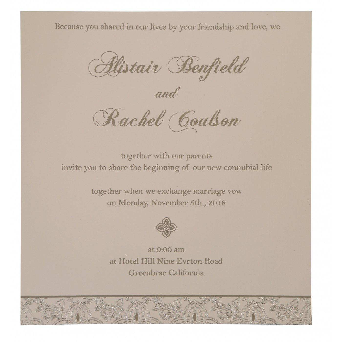GREY SHIMMERY SCREEN PRINTED WEDDING INVITATION : CRU-800E - IndianWeddingCards