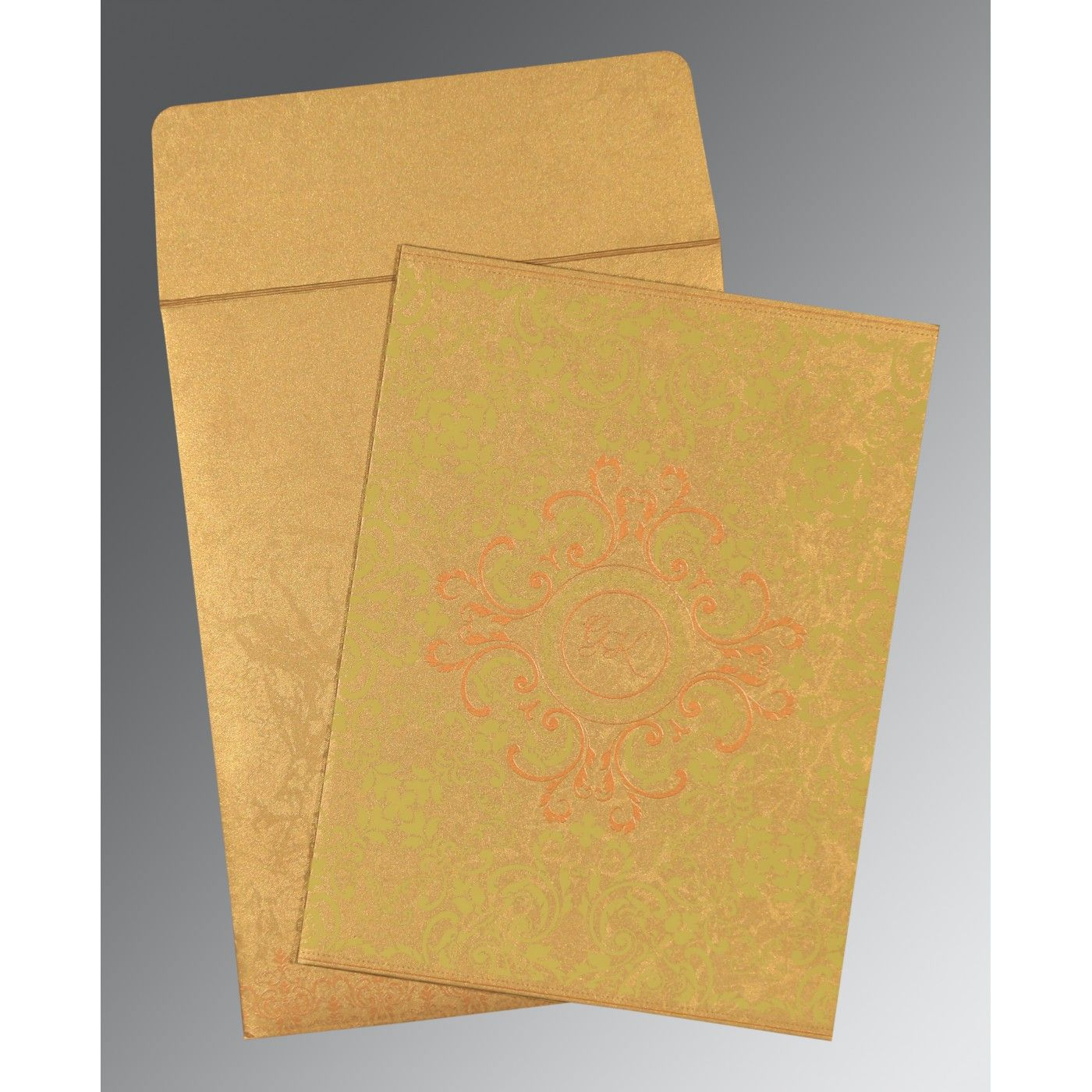 SATIN GOLD SHIMMERY SCREEN PRINTED WEDDING CARD : CRU-8244G - IndianWeddingCards