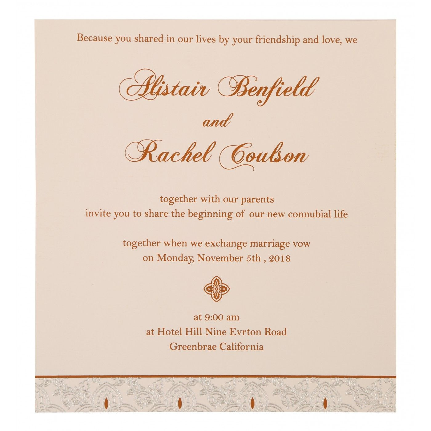 COPPER SHIMMERY SCREEN PRINTED WEDDING INVITATION : CS-800B - IndianWeddingCards
