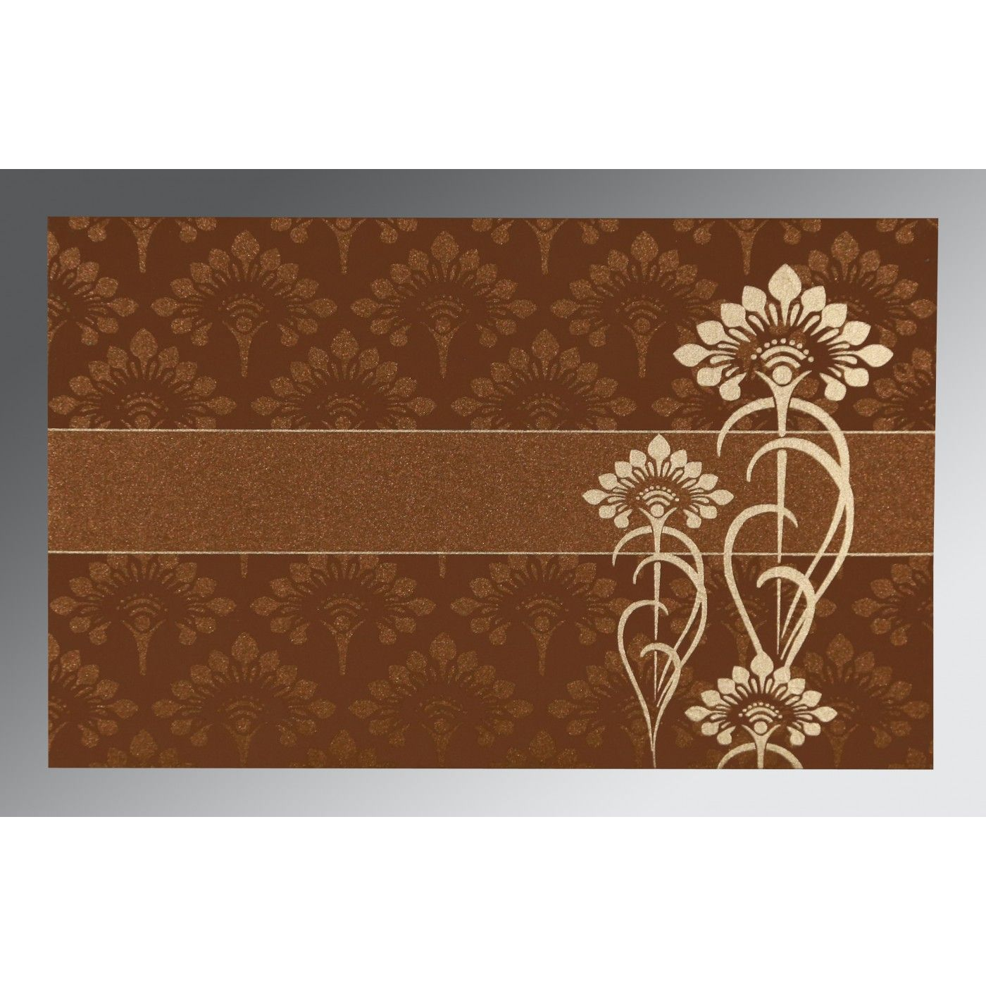 COPPER SHIMMERY SCREEN PRINTED WEDDING CARD : CS-8239H - IndianWeddingCards