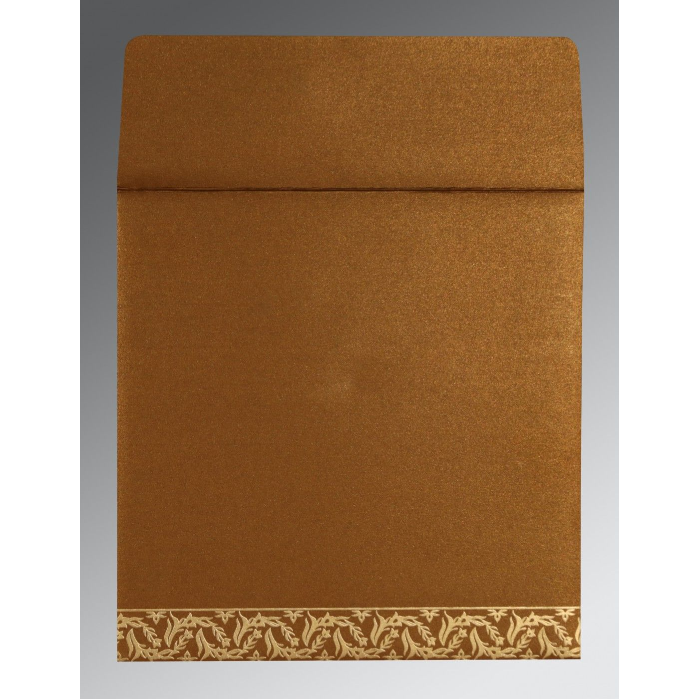 COPPER SHIMMERY UNIQUE THEMED - FOIL STAMPED WEDDING CARD : CRU-8249F - IndianWeddingCards
