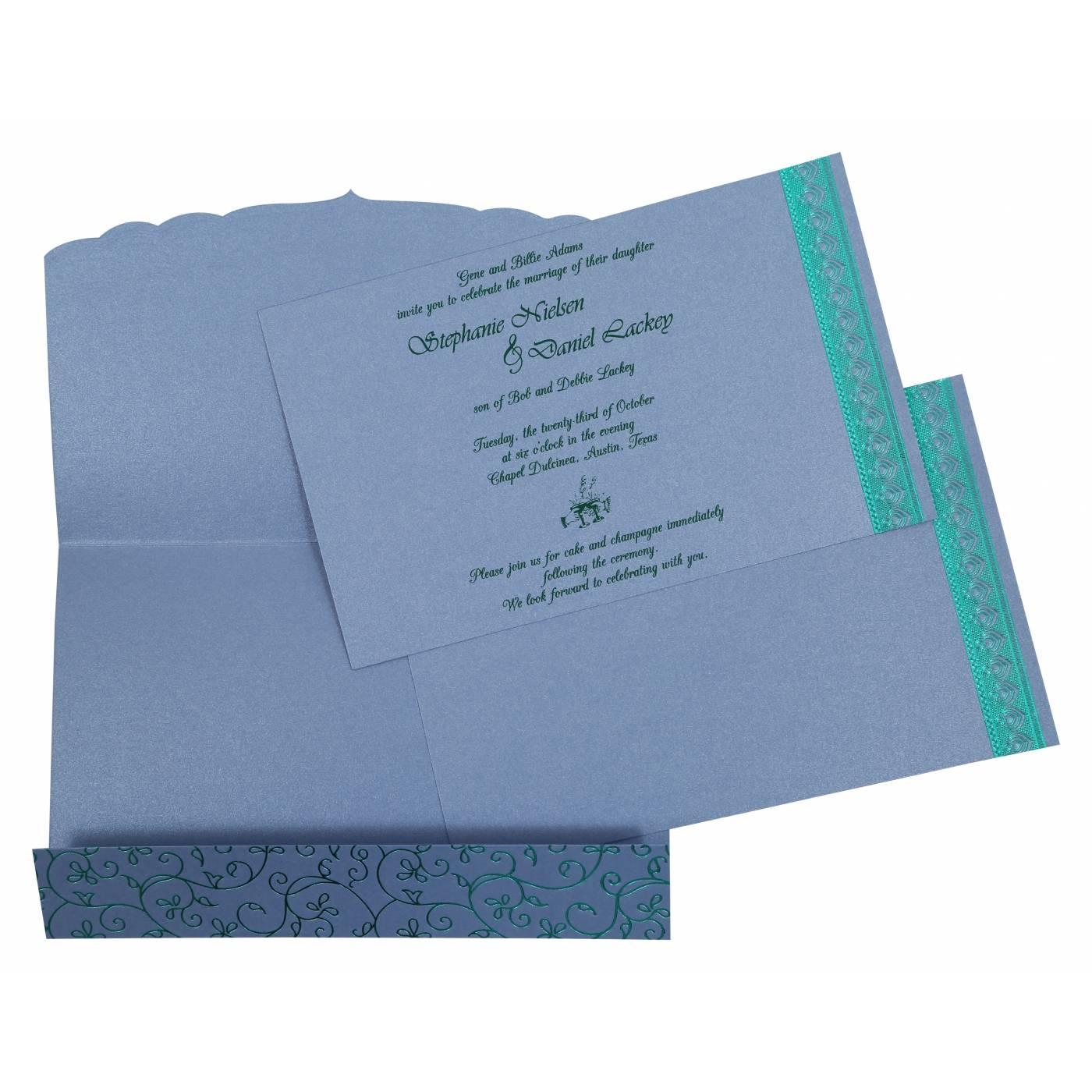 SKY BLUE SHIMMERY FOIL STAMPED WEDDING INVITATION : CG-806D - IndianWeddingCards