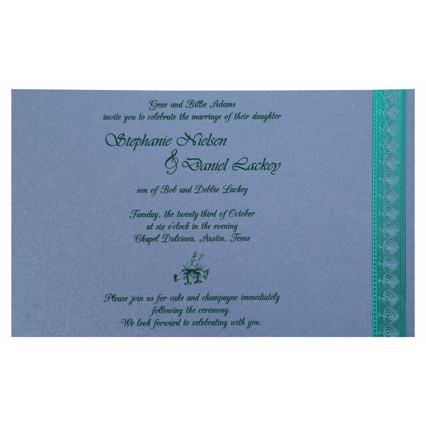 SKY BLUE SHIMMERY FOIL STAMPED WEDDING INVITATION : CI-806D - IndianWeddingCards