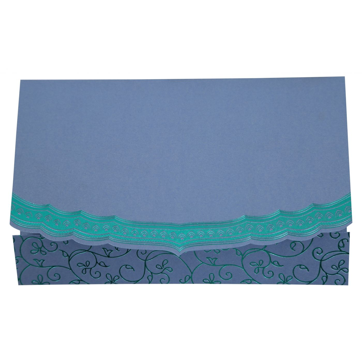 SKY BLUE SHIMMERY FOIL STAMPED WEDDING INVITATION : CRU-806D - IndianWeddingCards