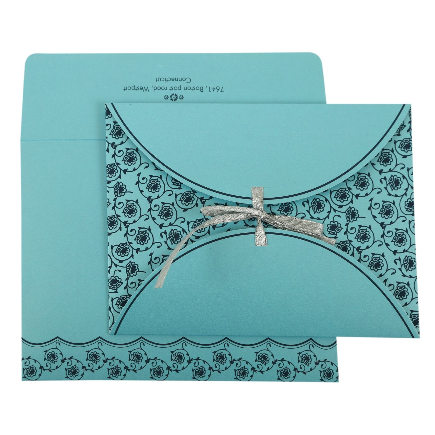 TURQUOISE SHIMMERY BUTTERFLY THEMED - SCREEN PRINTED WEDDING INVITATION : CI-821B - IndianWeddingCards