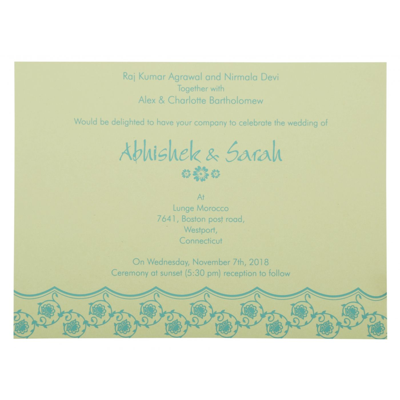 TURQUOISE SHIMMERY BUTTERFLY THEMED - SCREEN PRINTED WEDDING INVITATION : CW-821B - IndianWeddingCards