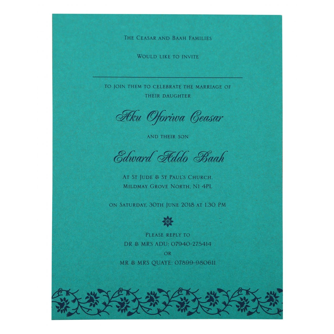 TURQUOISE SHIMMERY FLORAL THEMED - SCREEN PRINTED WEDDING INVITATION : CD-822C - IndianWeddingCards