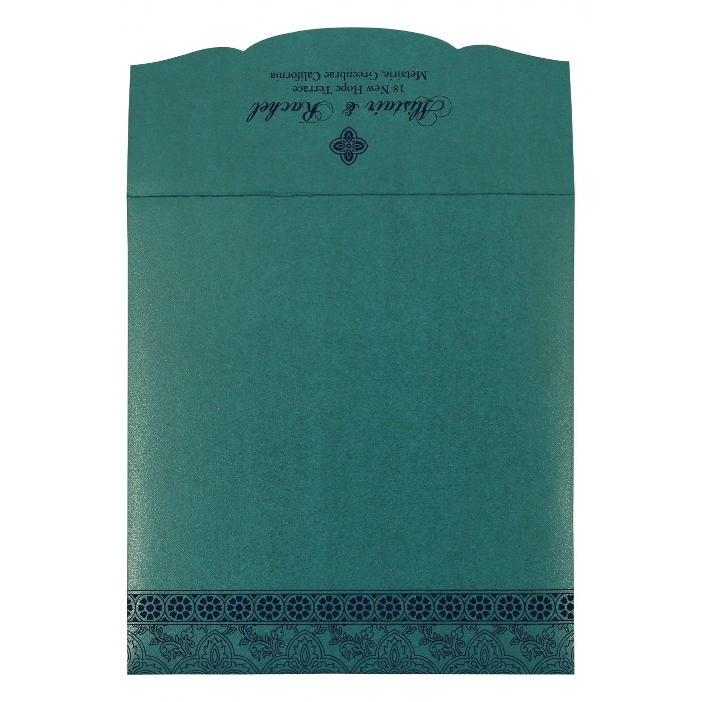 TURQUOISE SHIMMERY SCREEN PRINTED WEDDING INVITATION : CG-800D - IndianWeddingCards