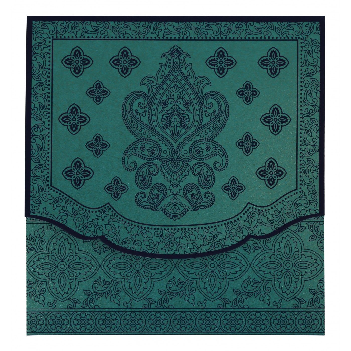 TURQUOISE SHIMMERY SCREEN PRINTED WEDDING INVITATION : CI-800D - IndianWeddingCards