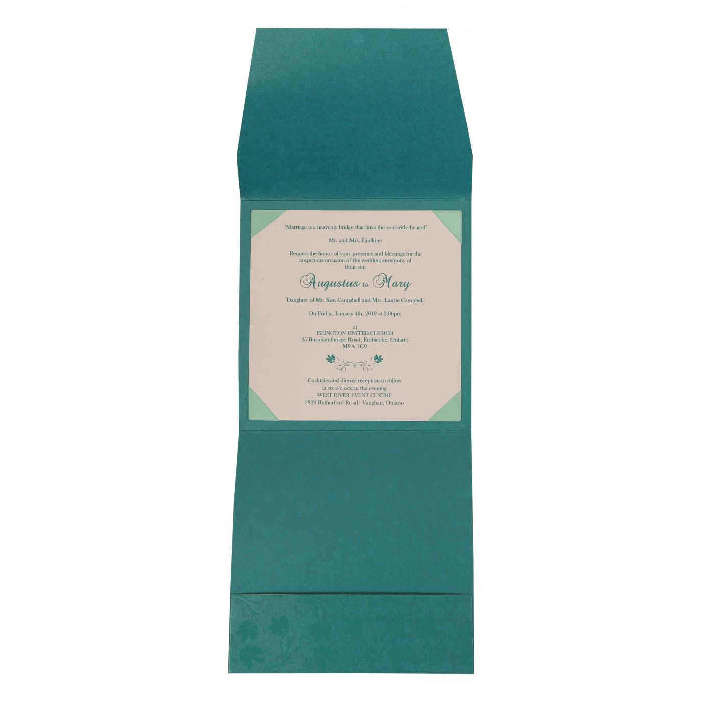 TURQUOISE SHIMMERY SCREEN PRINTED WEDDING INVITATION : CSO-803A - IndianWeddingCards
