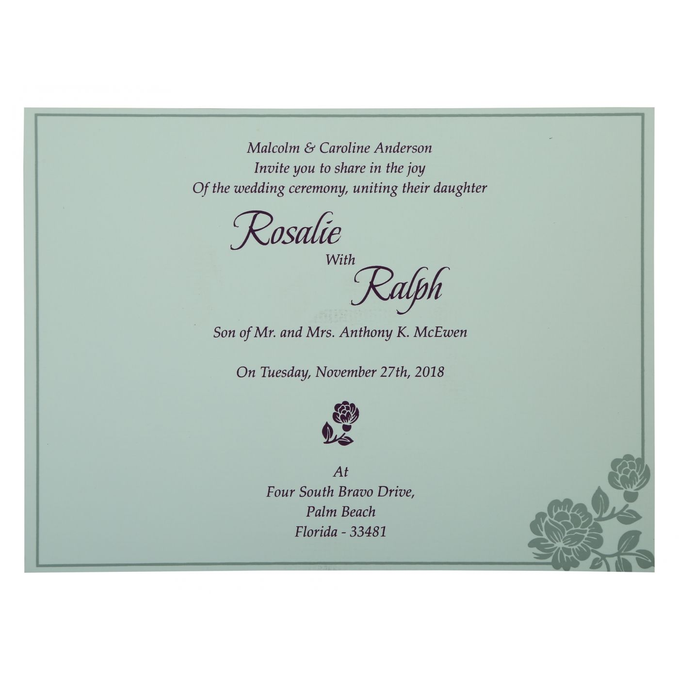 SILVER SHIMMERY FLORAL THEMED - SCREEN PRINTED WEDDING INVITATION : CD-802A - IndianWeddingCards