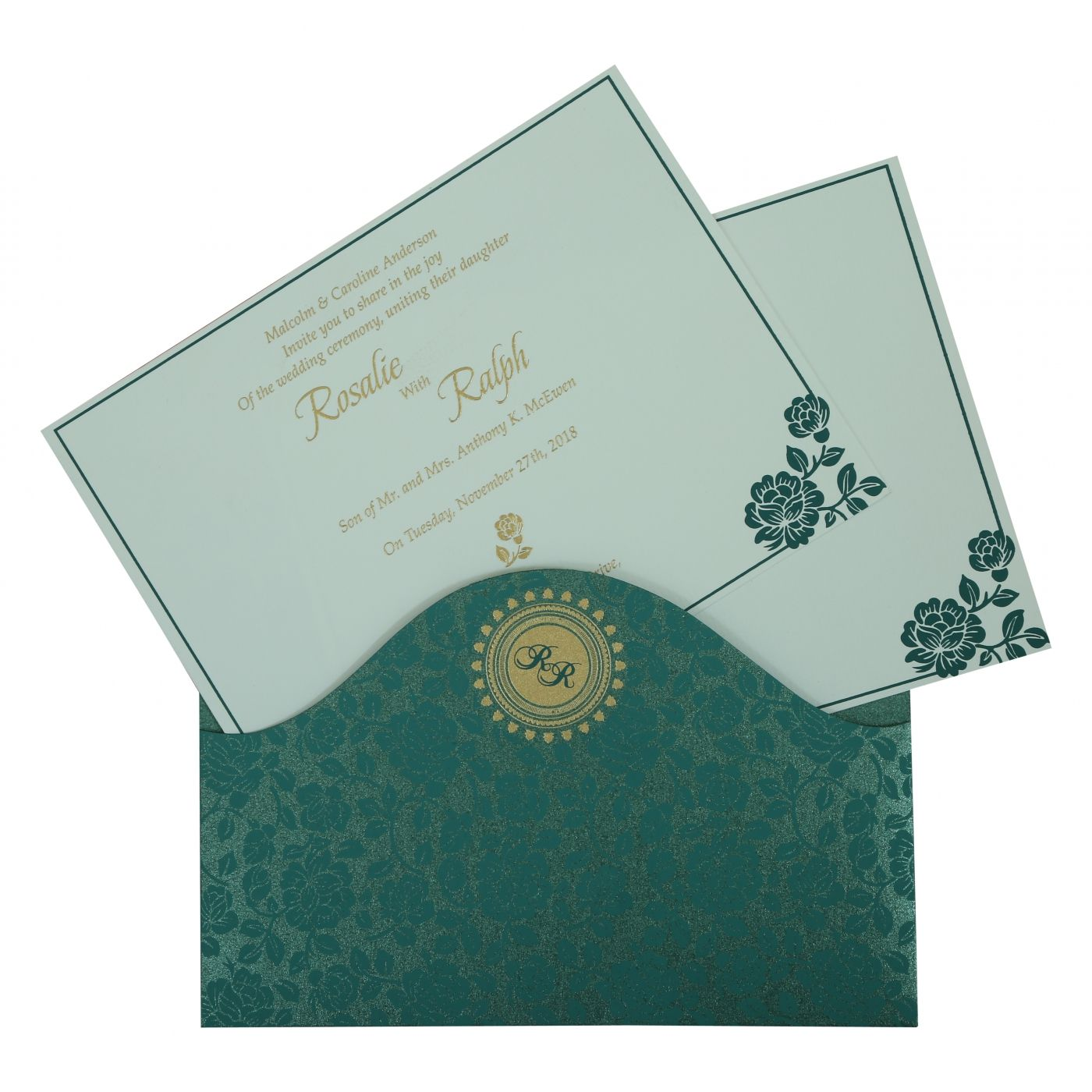 GREEN SHIMMERY FLORAL THEMED - SCREEN PRINTED WEDDING INVITATION : CD-802C - IndianWeddingCards